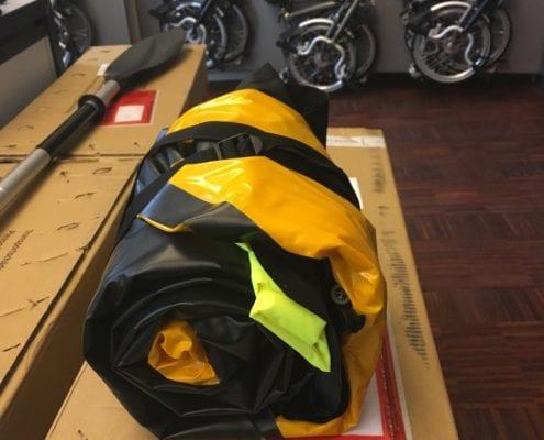 Anfibio Packrafting Test mit Brompton Faltrad